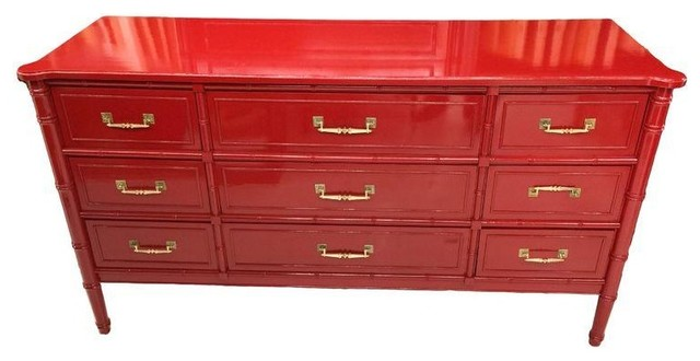 Hollywood Regency Faux Bamboo Red Lacquer Dresser