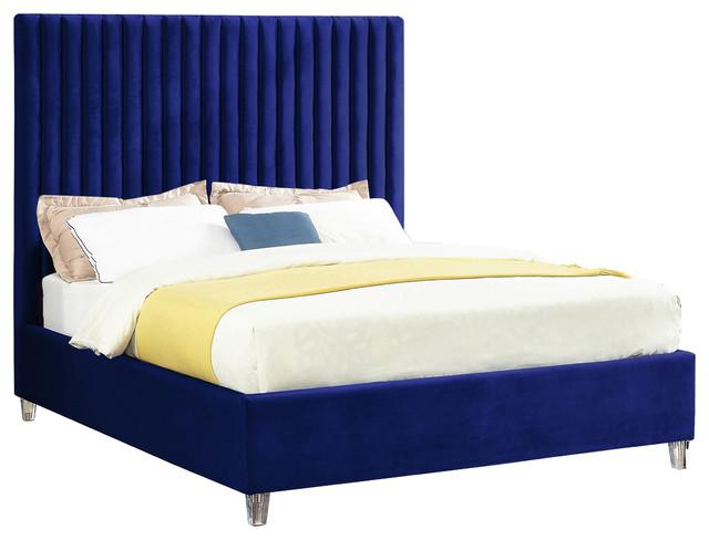 Talbert Velvet Bed, Navy, Queen.