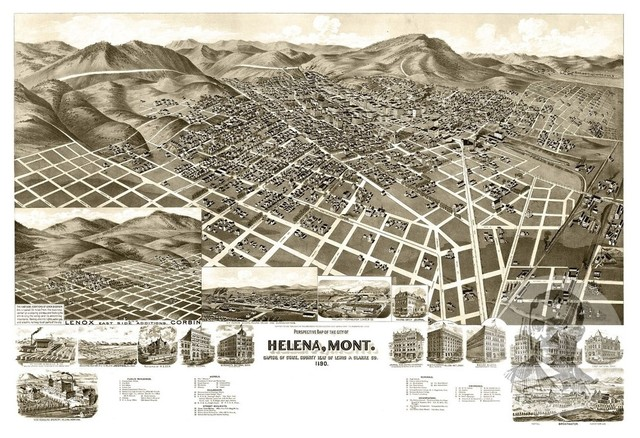 Old Map of Helena Montana 1890, Vintage Map Art Print - Contemporary ...