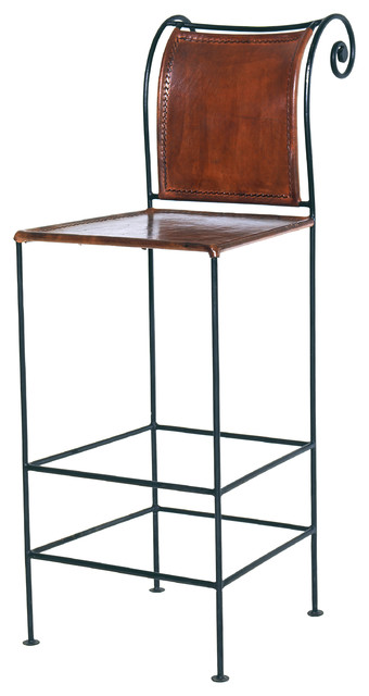 Ruby Leather And Iron Bar Stool Sienna Brown
