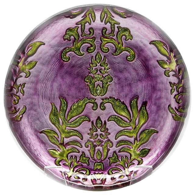Damask 8.5\  Purple Green Plate Set ...  sc 1 st  Houzz & Damask 8.5\