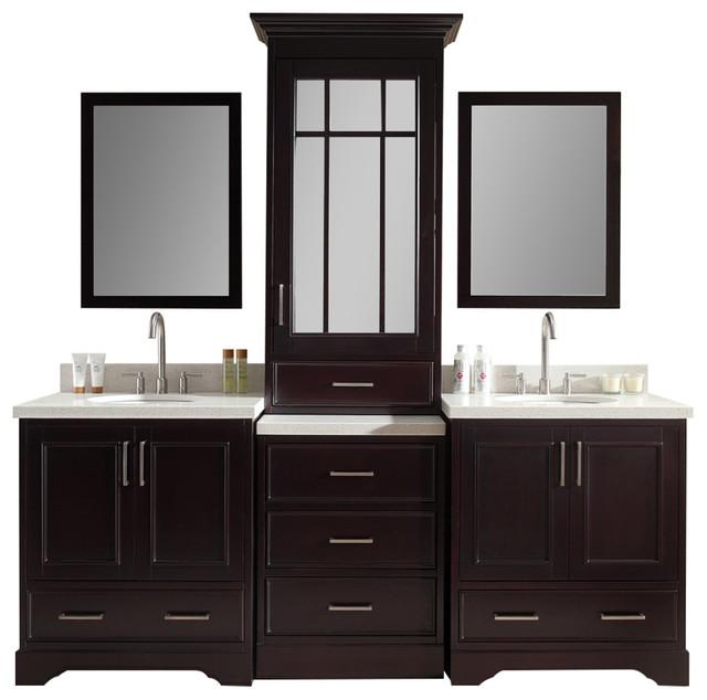 "Stafford 85"" Double Sink Vanity Set, Espresso Center Medicine Cabinet ..."