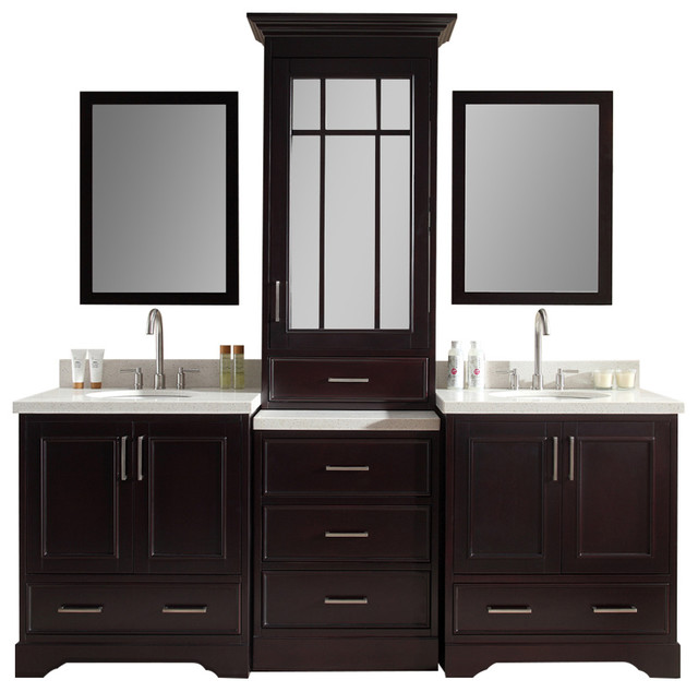 Ariel stafford 85 double sink vanity set espresso center medicine cabinet transitional for Espresso bathroom medicine cabinet