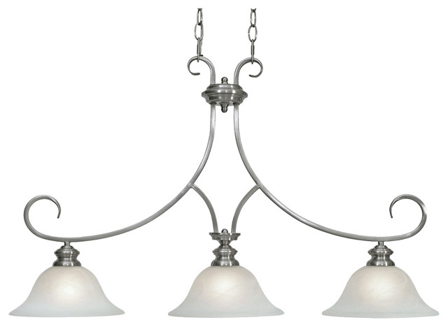 Lancaster 3-Light Linear Pendant, Pewter With Marbled Glass.