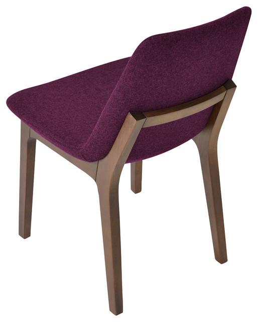 Stupendous Eiffel Wood Dining Chair American Walnut Base Deep Maroon Casmira Wool Dailytribune Chair Design For Home Dailytribuneorg