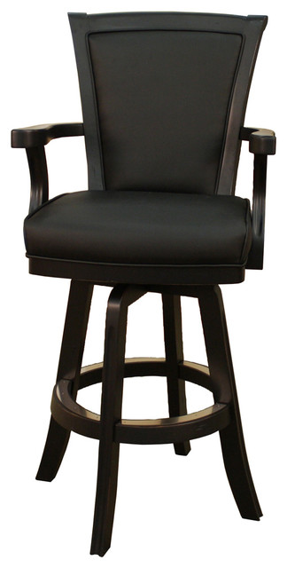 American Heritage Auburn Bar Stool In Antique Black With Black Leather