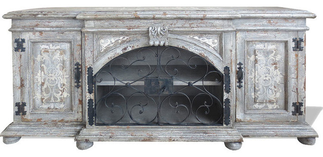 Traditonal Tuscan Sideboard Classic Scroll, Royal Grey Distressed  Traditional Buffets And Sideboards