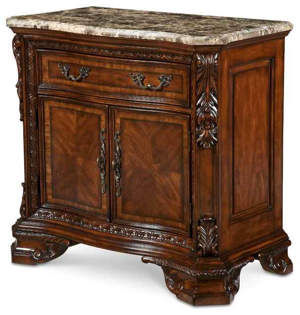 old world marble top nightstand - victorian - nightstands and Marble Top Nightstand