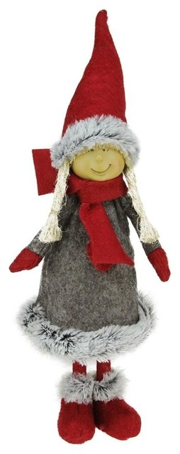 "13.5"" Young Girl Gnome In Faux Fur Trimmed Coat Christmas Decoration."