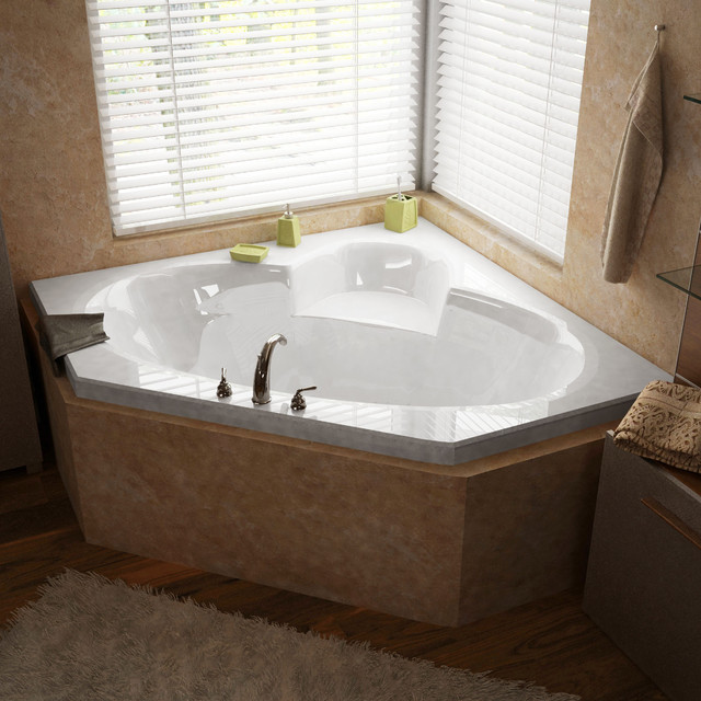 "Venzi Ambra 60""x60"" Corner Air Jetted Bathtub, Center Drain With Left Pump."