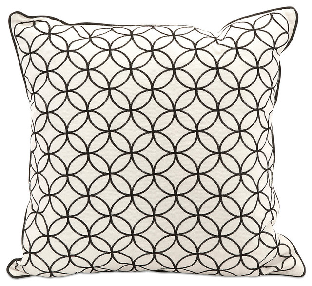 Essentials Embroidered Pillow, Black.