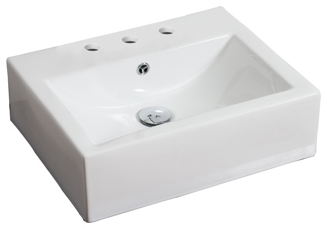 Wall Mount Rectangle Vessel, White Color For 8 O.c. Faucet.