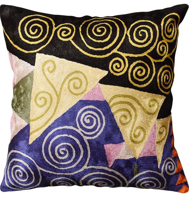 Klimt Blue Black Jewel Tree Of Life Throw Pillow Cover Handmade Art Silk 18x18