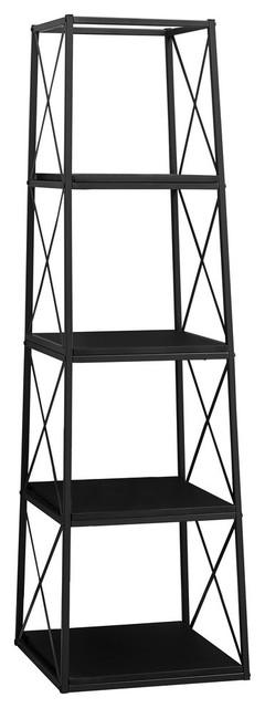 "60"" Metal Bookcase, Black"