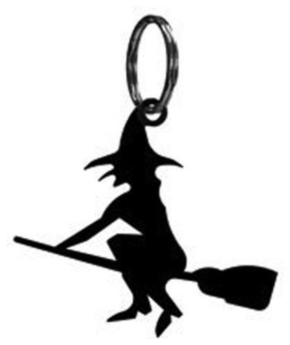 Wrought Iron Festive Witch Keychain Key Ring.