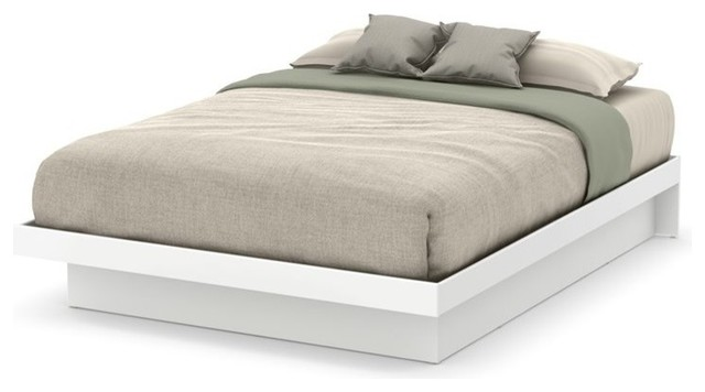 South Shore Basic Queen Platform Bed, Pure White.