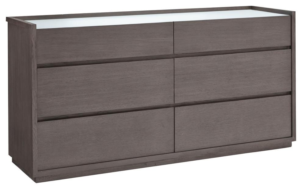 Palliser Furniture Maddox 6 Drawer Dresser Glass Top