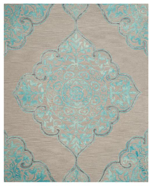 Safavieh Dip Dye Area Rug, Gray/turquoise, 5&x27;x8&x27;.