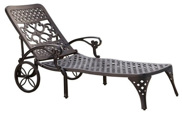 Hawthorne collections patio chaise lounge chair white for Black mesh chaise lounge