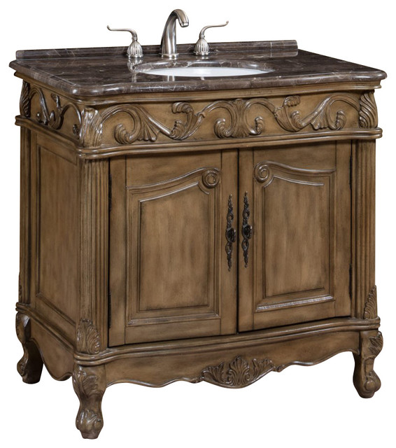 Single sink bathroom vanity with marble top 36 for Marble top console sink