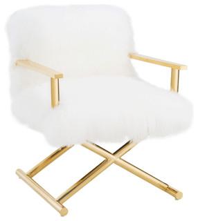 Jodi Sheepskin Chair - White, Gold