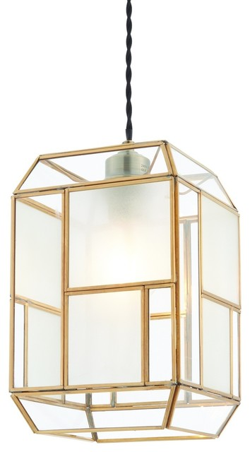 Chatsworth Non Electric Shade, Antique Solid Brass, Clear and Frosted Glass