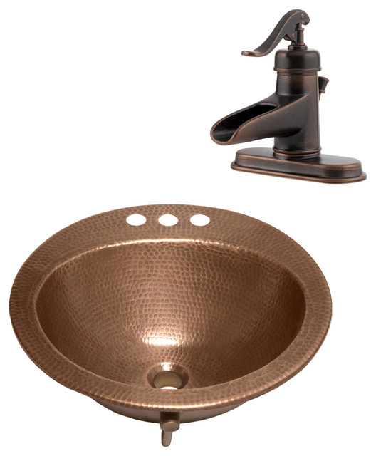 """Bell Drop-In Copper Sink Kit With Pfister 4"""" Centerset Bronze Faucet & Drain"""
