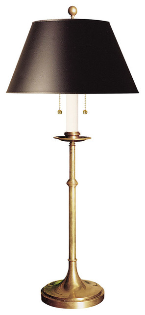 E. F. Chapman Dorchester Club Table Lamp, Antique-Burnished Brass.