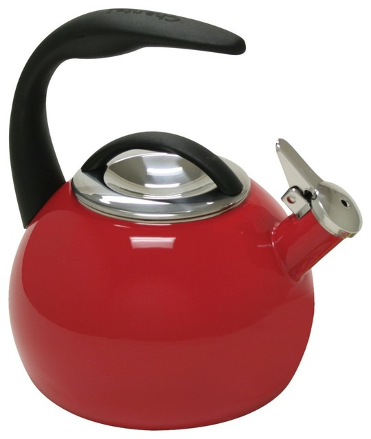 Chantal 40th Anniversary 2-Quart Enamel On Steel Teakettle, Chile Red.