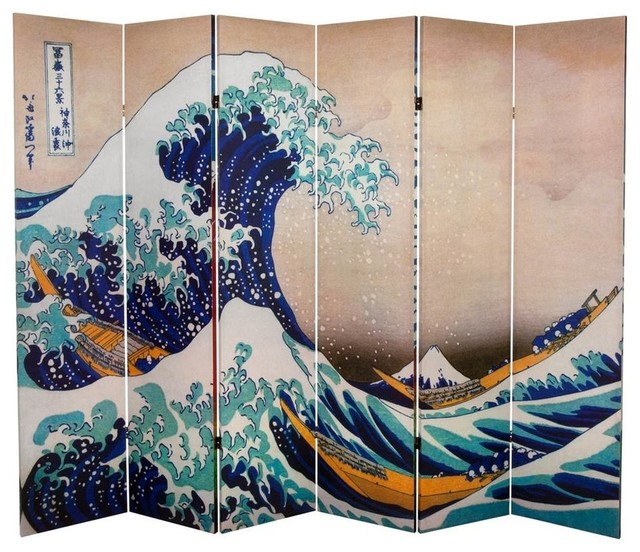 6' Tall Double Sided Hokusai Room Divider, Great Wave/Red Fuji