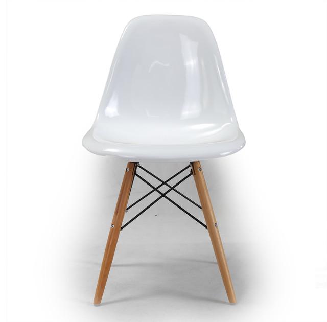 Kardiel 1948 Eiffel Base Molded ABS Chair, White / Wooden Legs