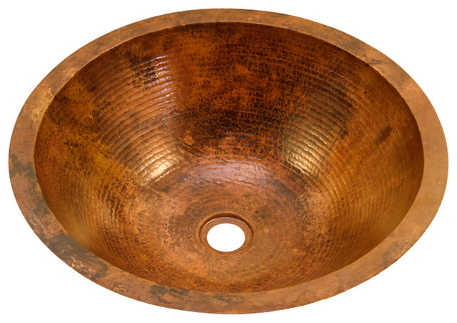 Flat Rim Round Bathroom Copper Sink.