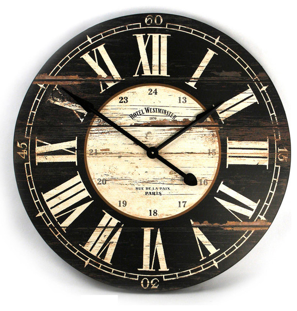 Hotel Westminster Rustic Cottage Black White Large Wall Clock Transitional Clocks By Kathy