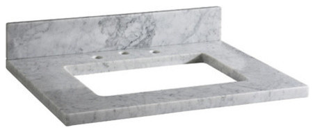 White Carrera Marble Vanity Top Pre-Cut For Rectangular Undermount Sink.