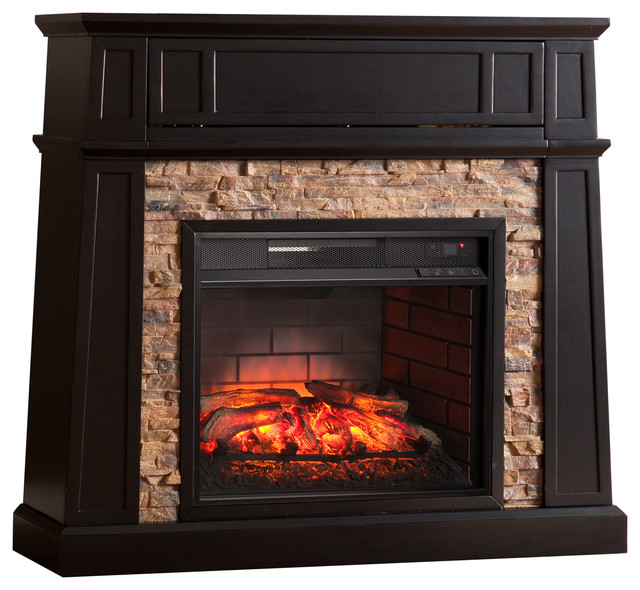 Dandridge Faux Stone Infrared Media Fireplace, Black.