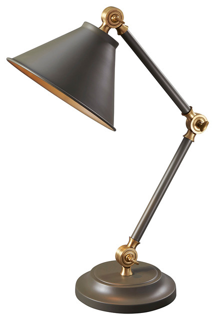 Provence Element 1-Light Table Lamps, Dark Gray And Aged Brass.