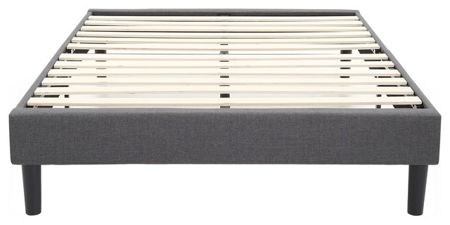 Claridge Upholstered Platform Bed With Wood Slat Support, Gray, Twin.