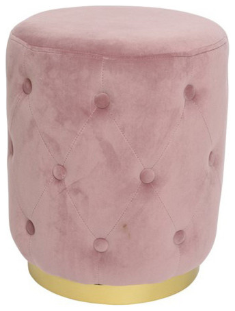 Button Studded Cocktail Stool, Pastel Pink