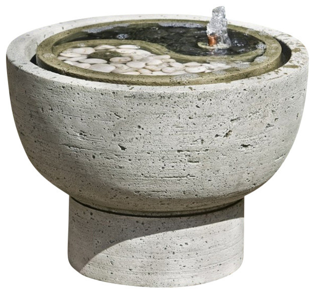 Yin Yang Pot Garden Water Fountain, Aged Limestone Traditional Outdoor  Fountains And