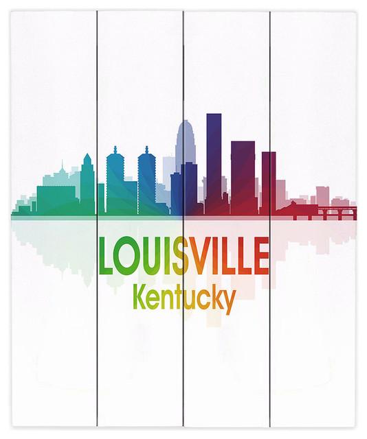 City I Louisville Kentucky Wood Plank Wall Art 20 X24