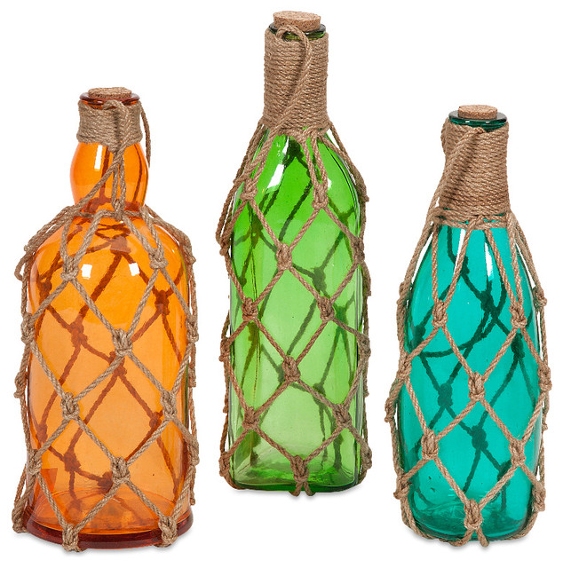 Glass Decorative Bottles Amazing Imax  Modern Set Of 3 Williams Glass Bottles With Jute Hangers Design Decoration