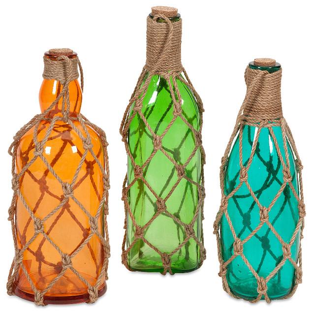 modern set of 3 williams glass bottles with jute hangers decor beach style decorative - Decorative Glass Jars