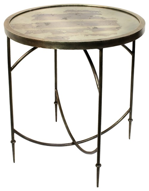 Rustic Parisian Mirrored Round Table, Antiqued Accent Side