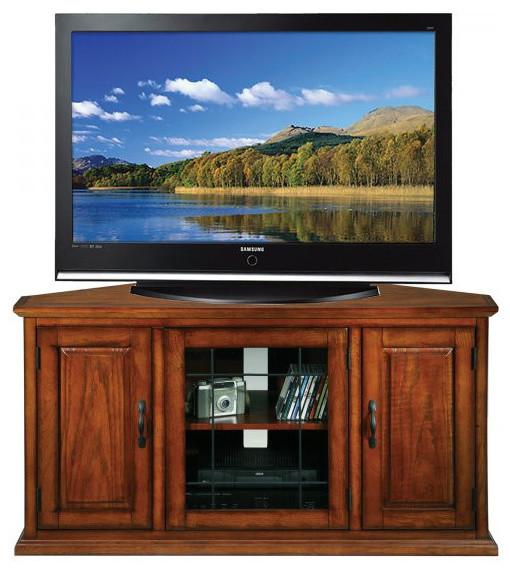 "Oak and Leaded Glass Corner TV Console Table, Burnished Oak, 25""x46.75 ..."