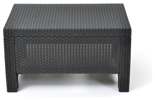 Contemporary Outdoor Coffee Table Durable Black Plastic Rattan Outdoor Coffee Tables By