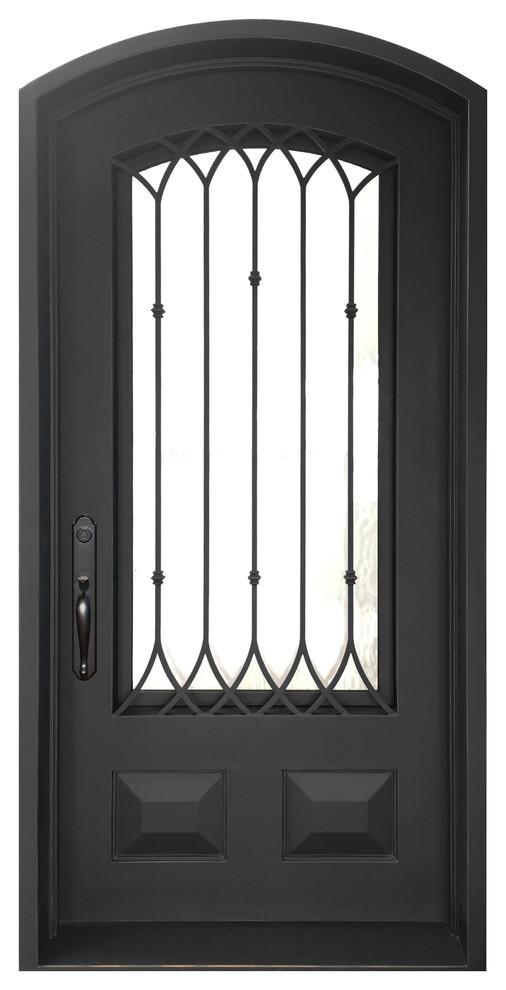 """Iglesia 46""""x96"""" Wrought Iron Door, 8"""" Jamb, Aged Bronze Patina - Traditional - Interior Doors"""