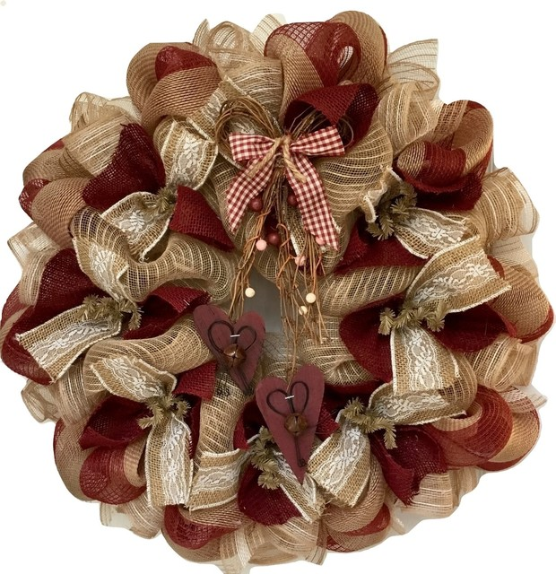 Country Burlap Valentines Day Deco Mesh Wreath With Rustic