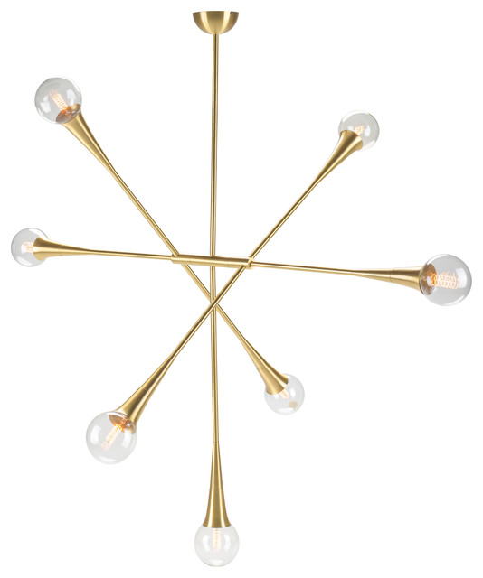 Tristan 7 Pendant Light In Brass.
