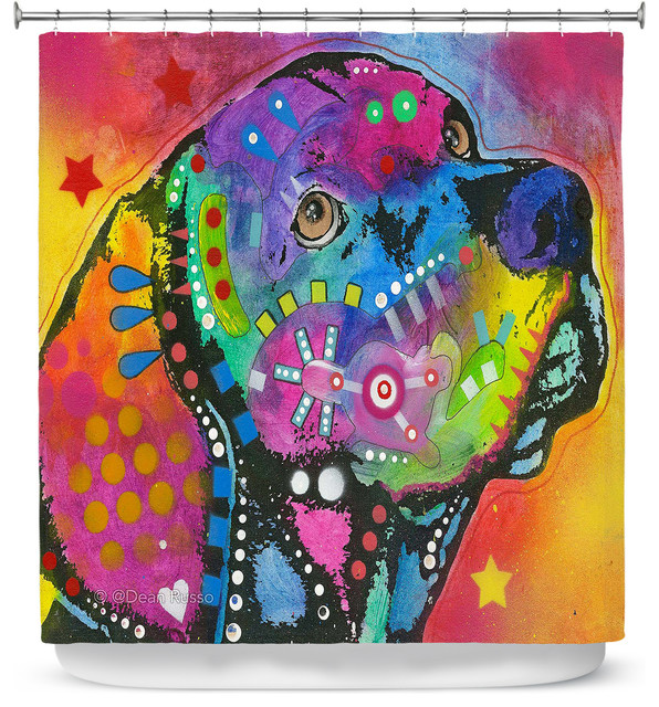 Merveilleux DiaNoche Designs Shower Curtain By Dean Russo   Psychedelic Labrador Dog