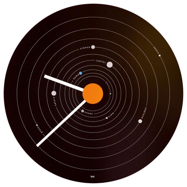 "15"" Expose Steel Wall Clock Solar System"